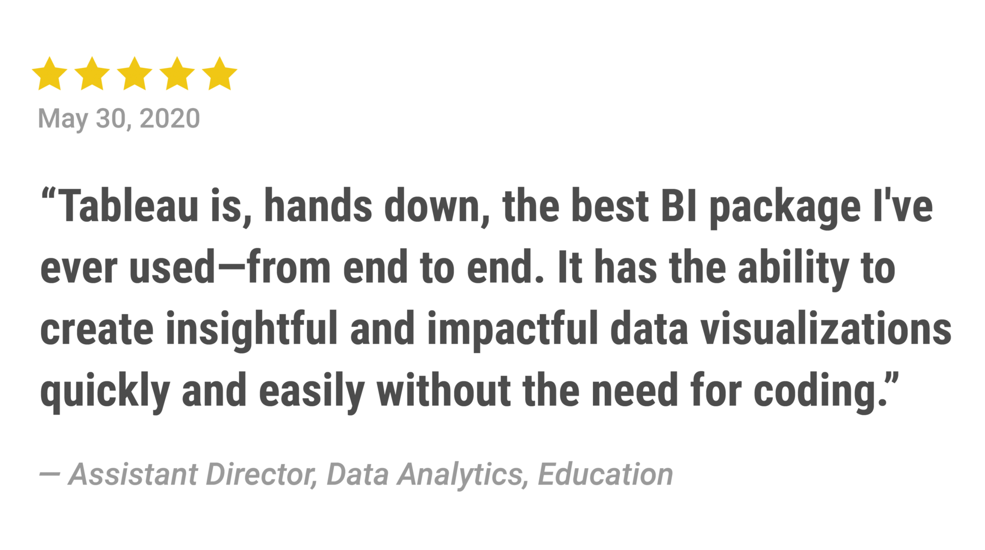Five stars: Tableau is, hands down, the best BI packagae I've ever used – from end to end. It has the ability to create insightful and impactful data visualizations quickly and easily without the need for coding.