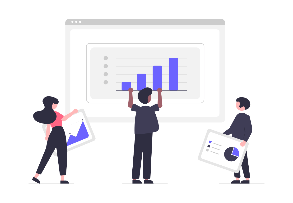 Digital illustration of 3 people holding up computer web pages of dashboards