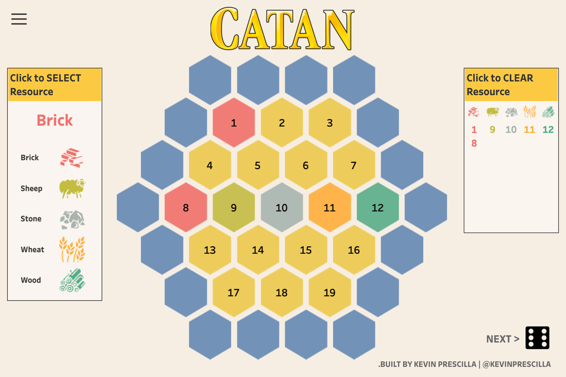 Visualization featuring the boardgame Catan