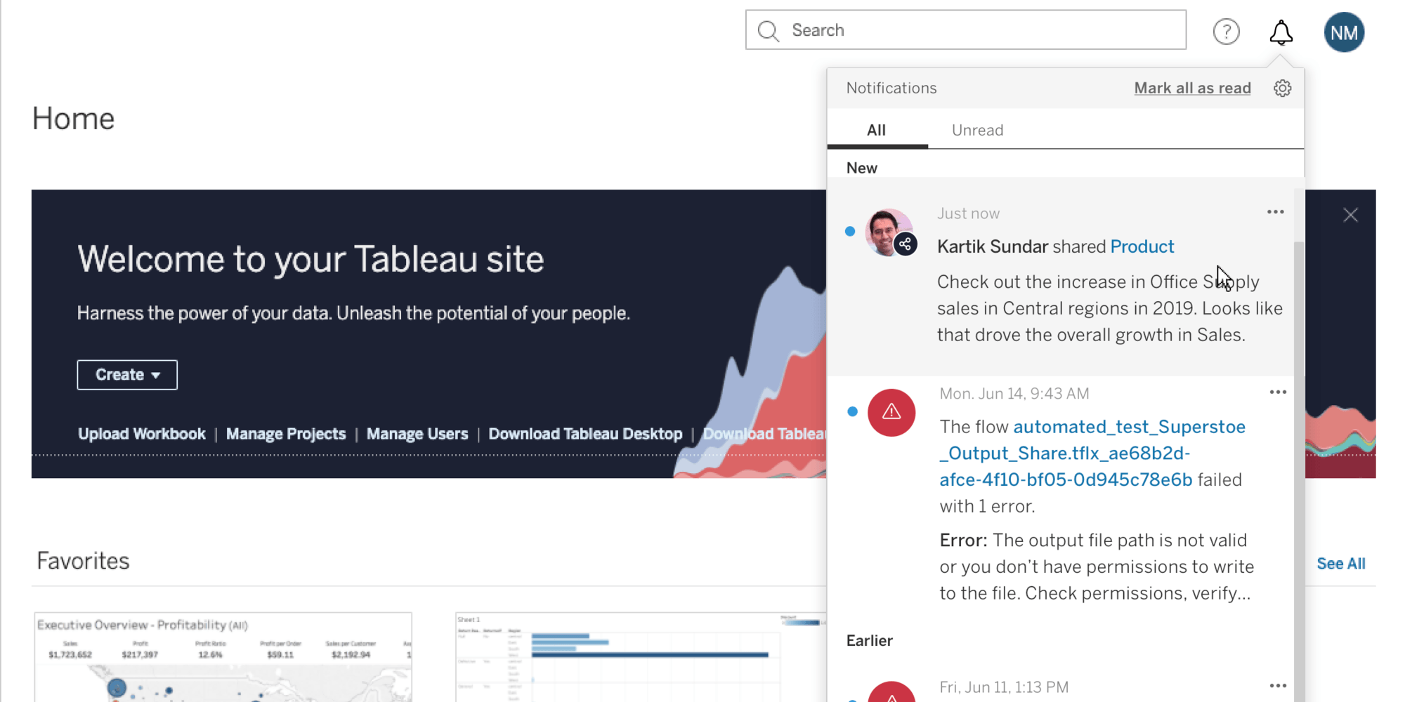 A list containing notifications is expanded from the top right corner of the Tableau Server or Online interface