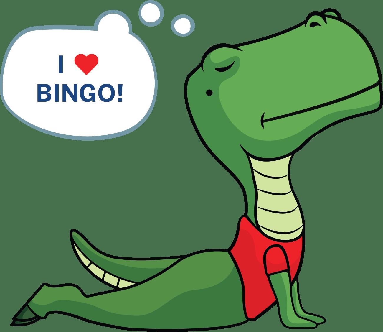 """DataDev mascot: Dinosaur doing yoga, thinking """"I ♥️ bingo"""""""