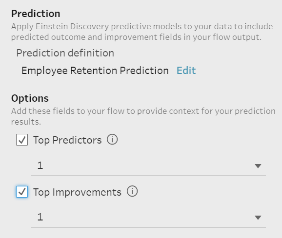 Tableau Prep prediction settings