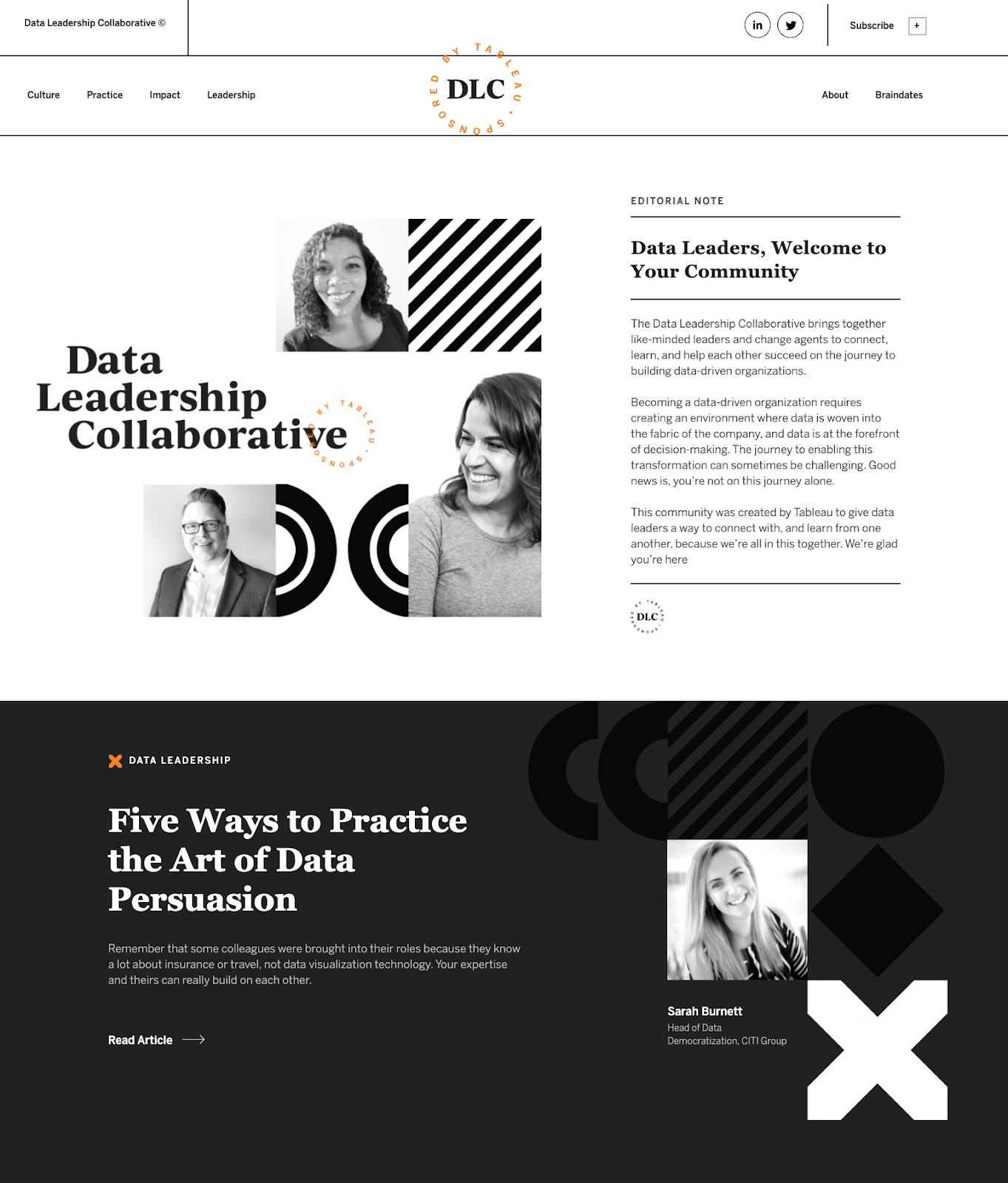 Data Leadership Collaborative website screencap