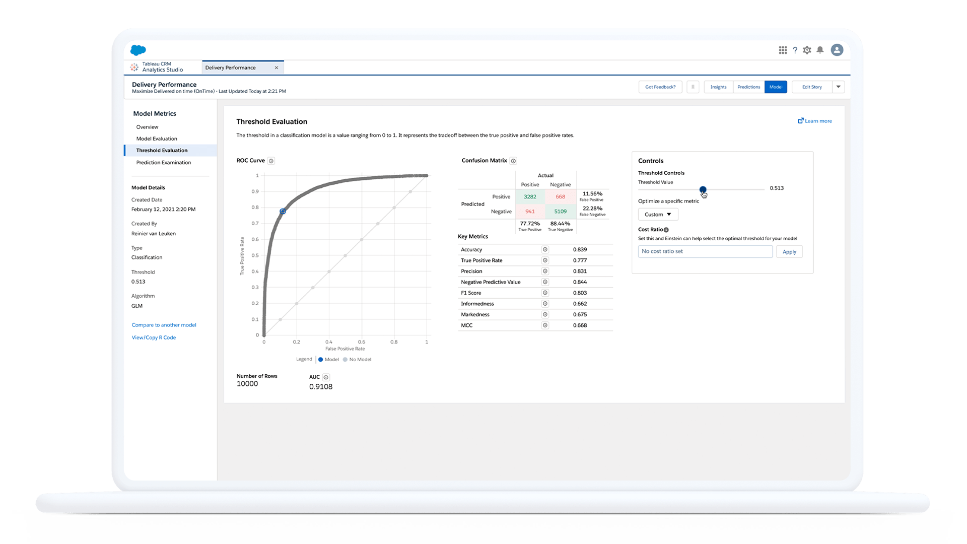 User experience of Einstein Discovery product feature viewed in the Salesforce CRM platform