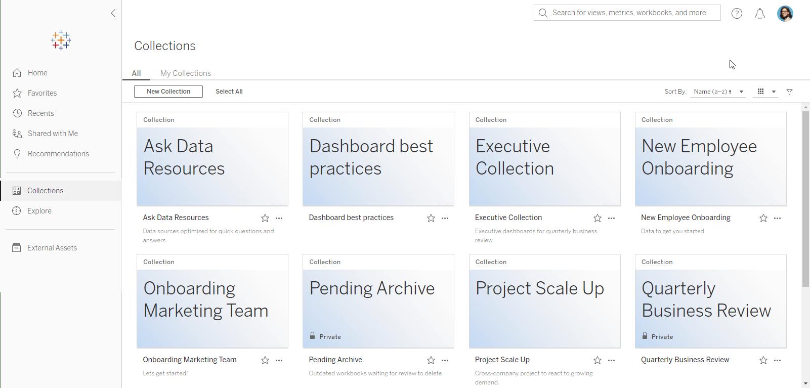 Коллекции таблиц изображений, показывающие активы данных, которые были сгруппированы и отобраны по соответствующим темам в разных проектах.