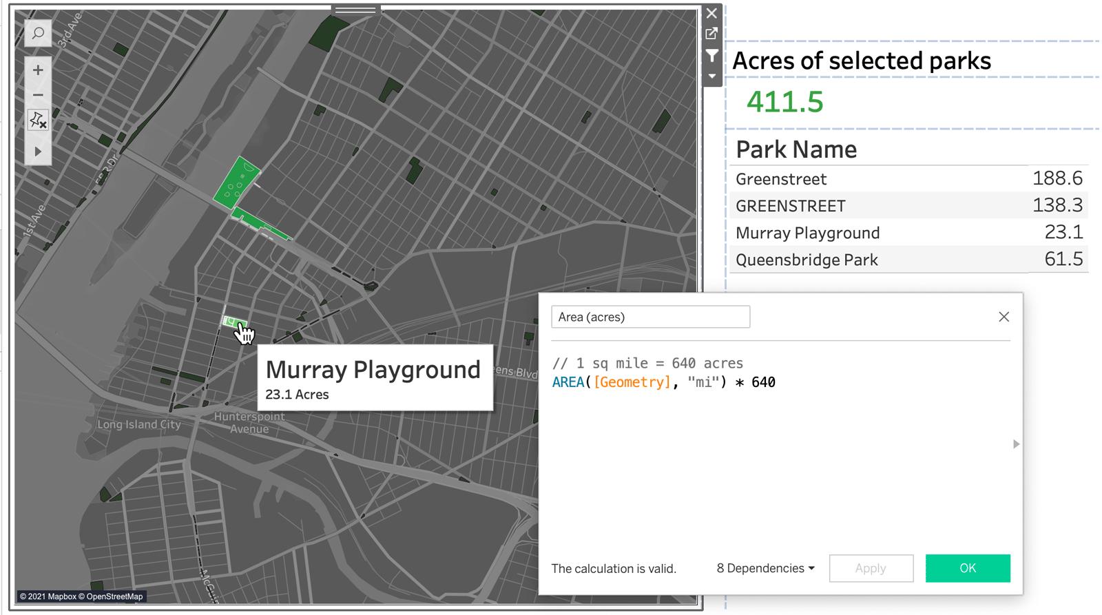 Изображение карты в Табло, использующее пространственный расчет площади для определения общей площади нескольких парков, выбранных на карте.