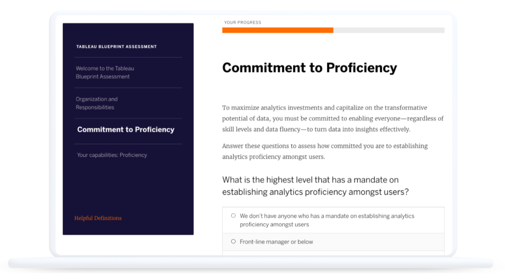 Tableau Blueprint Assessment screen showing progress bar and the Commitment to Proficiency section, asking What is the highest level that has a mandate on establishing analytics proficiency amongst users?