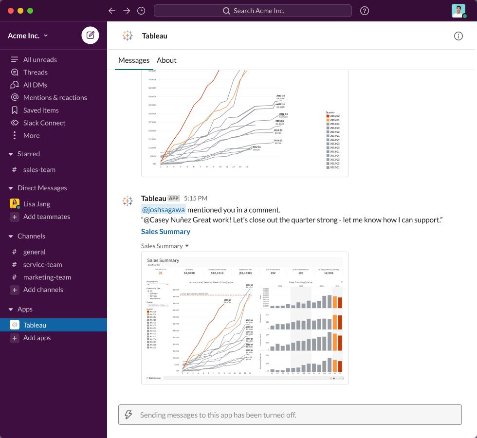 В интерфейсе Slack отображается сообщение Apps от Tableau: «@joshsagawa упомянул вас в комментарии. '@casey nunez отличная работа! Давайте закроем квартал хорошо - дайте мне знать, как я могу поддержать »» в сочетании с панелью данных «Сводка продаж»