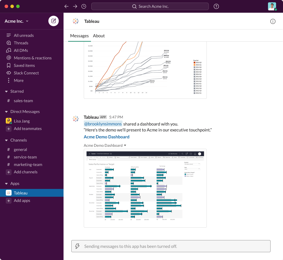 """Slack interface showing an Apps message from Tableau: """"@brooklynsimmons shared a dashboard with you. 'Here's the demo we'll present to Acme in our executive touchpoint.'"""" paired with Acme Demo Dashboard visualization"""