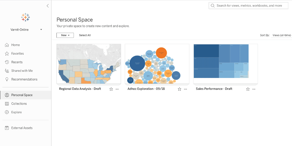 """Image of """"Personal Space"""" featuring three blue and orange data visualizations that are still being drafted and not yet ready for sharing"""