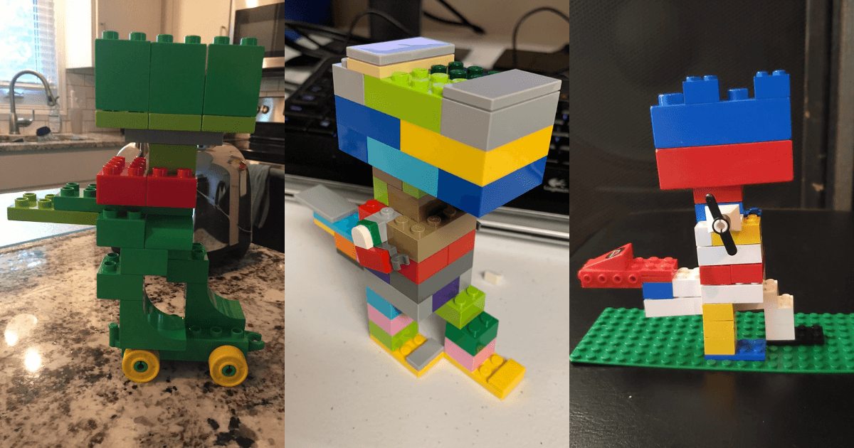 Three different T-Rex creations built with colorful Duplos and Legos, one skateboarding, another walking, the other with propellers for arms