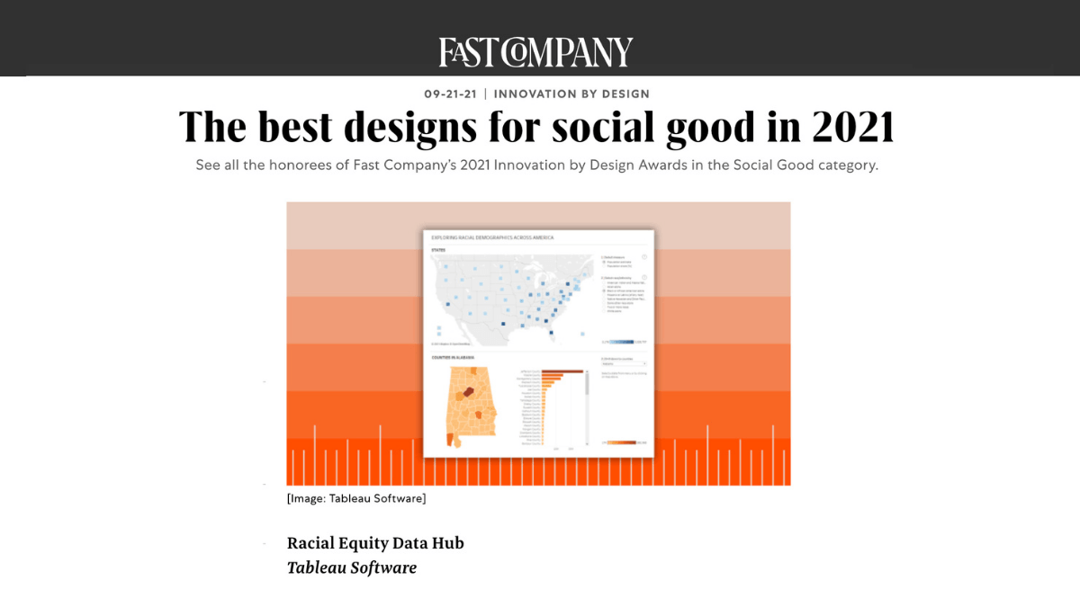 Fast Company 9/21/21 - The best designs for social good in 2021 - Racial Equity Data Hub, Tableau Software