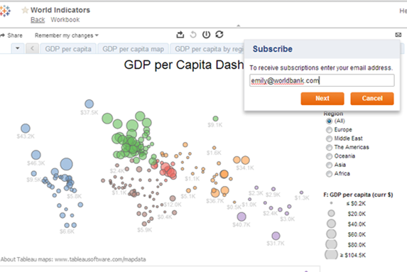 Image of New in Tableau 8: Subscriptions  to Reports or Worksheets