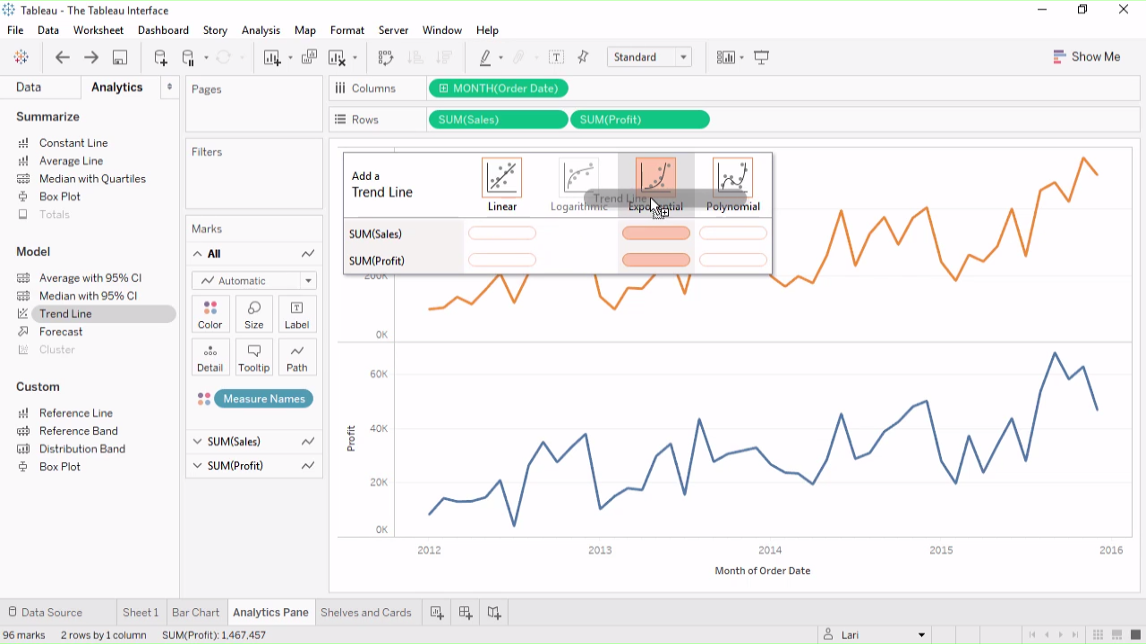 The Tableau Interface