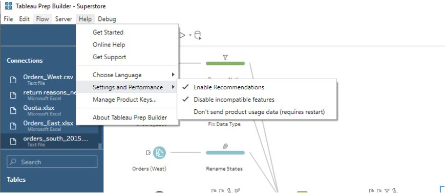 image of Disable incompatible Tableau Conductor features