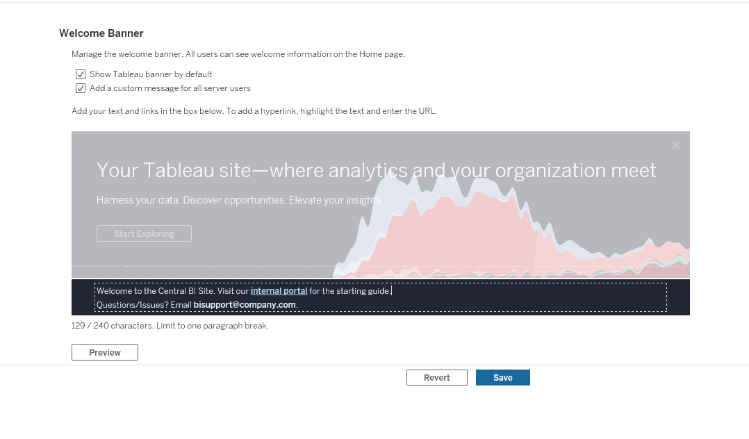 image of Custom welcome banner for Tableau Server