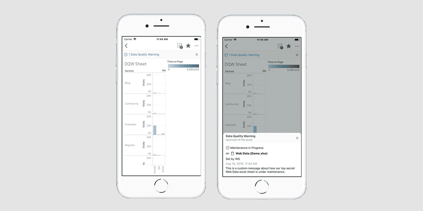 image of Data quality warnings for Tableau Mobile