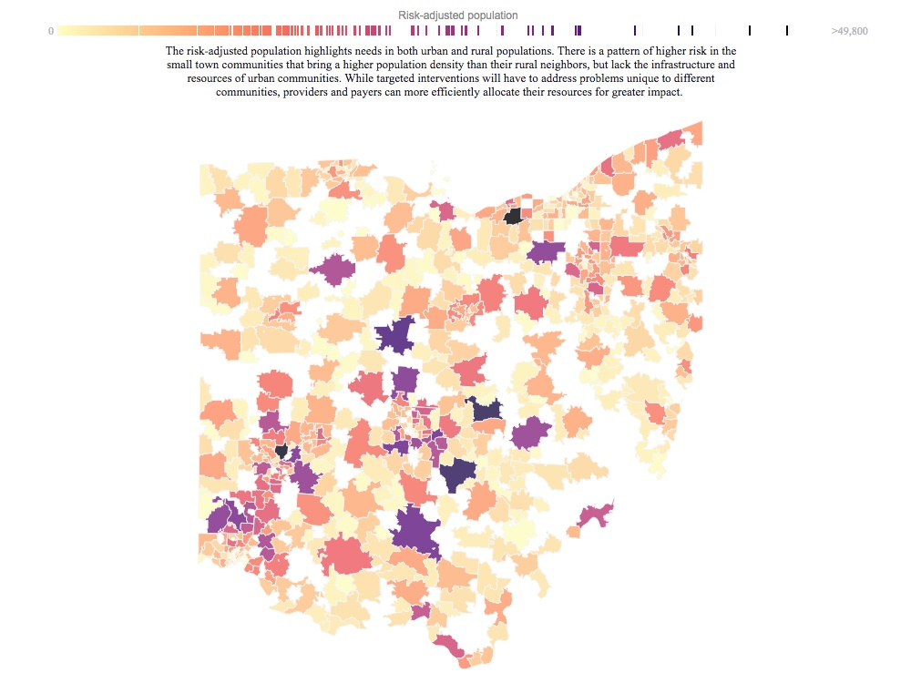 This map of Ohio helps residents understand the health risks of where they live, excerpted from a dashboard within Front Health's Tableau Public profile.