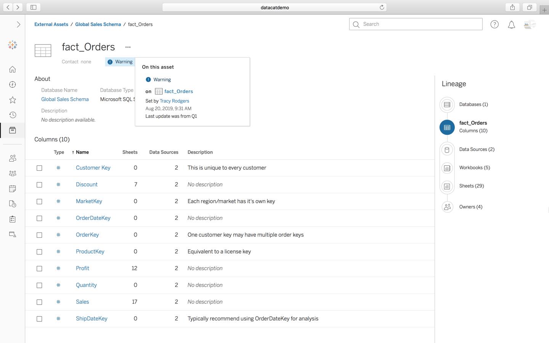 Screenshot van Tableau Data Management Add-on software.