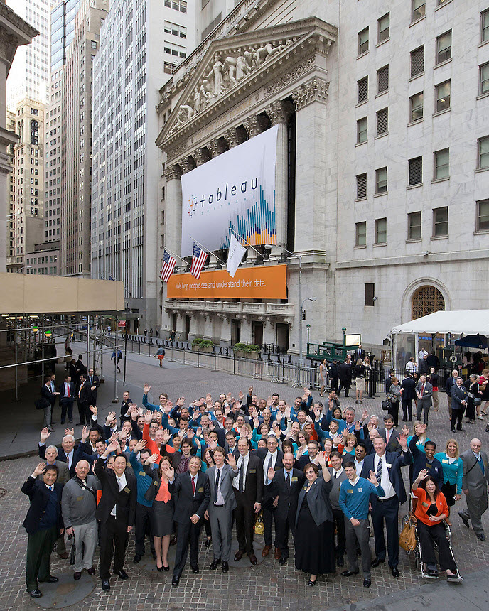 Tableau Team in front of the NYSE before the market opened