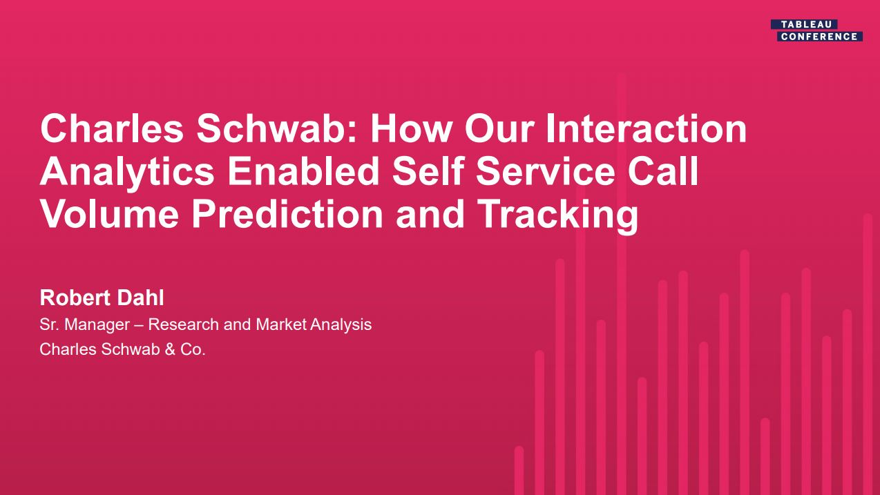 Ir a Charles Schwab: How Our Interaction Analytics Enabled Self Service Call Volume Prediction and Tracking