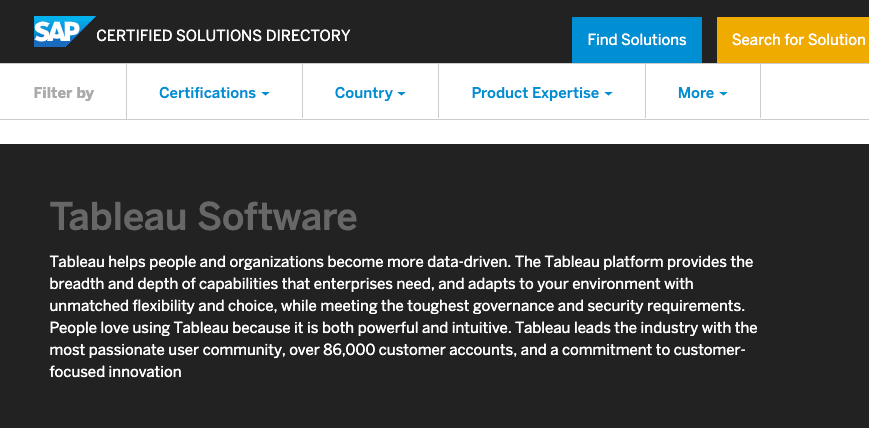Tableau SAP certification new in 2020.3